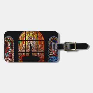 stained glass jesus luggage tag