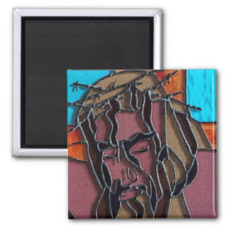 Stained glass Jesus Square Magnet