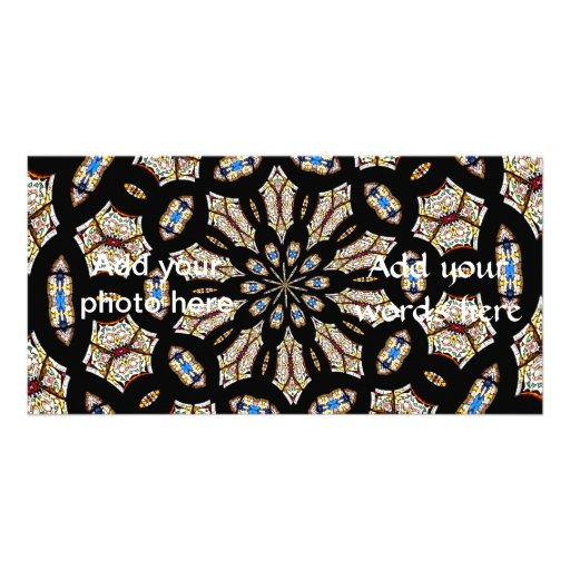 Stained Glass Kaleidoscope 2 Custom Photo Card