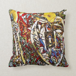 stained glass key to my heart throw pillow