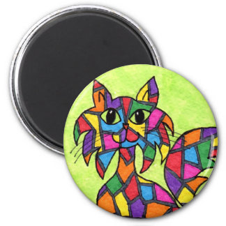 Stained Glass Kitty 6 Cm Round Magnet