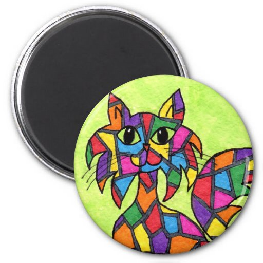 Stained Glass Kitty Fridge Magnets