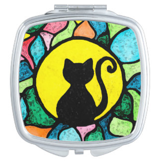 Stained Glass Kitty Mirror For Makeup