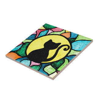 Stained Glass Kitty Watercolour Ceramic Tile