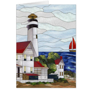 Stained glass lighthouse greeting card