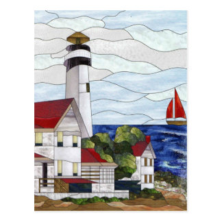 Stained glass lighthouse postcard