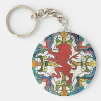 Stained Glass Lion Crest Key Ring