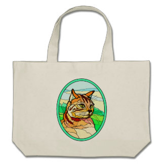 Stained Glass Look Cat 1 Tote Bag