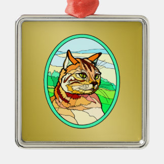 Stained Glass Look Cat 1 Christmas Tree Ornament