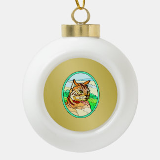 Stained Glass Look Cat 1 Ornament