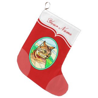 Stained Glass Look Cat 1 Large Christmas Stocking