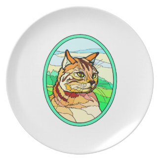 Stained Glass Look Cat 1 Dinner Plate