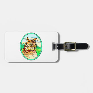 Stained Glass Look Cat 1 Travel Bag Tags