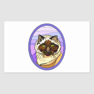 Stained Glass Look Cat 2 Rectangle Sticker