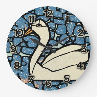 Stained Glass Look Clock with Swan