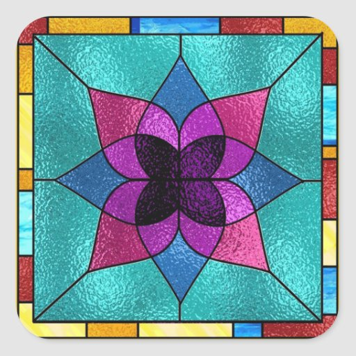 Stained Glass Look Flower Stickers