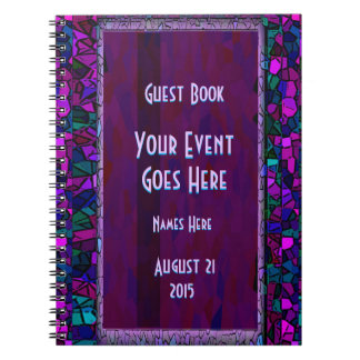 Stained Glass Look Glitter Guest Book Spiral Note Book
