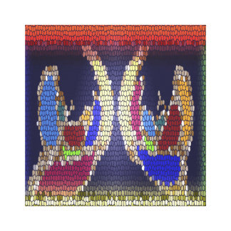 Stained Glass Look - Helping Hands Stretched Canvas Print