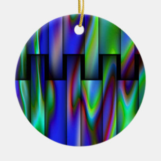 Stained Glass Look Round Ceramic Decoration