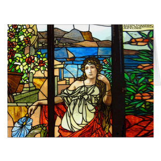 Stained glass look with lady sitting. big greeting card