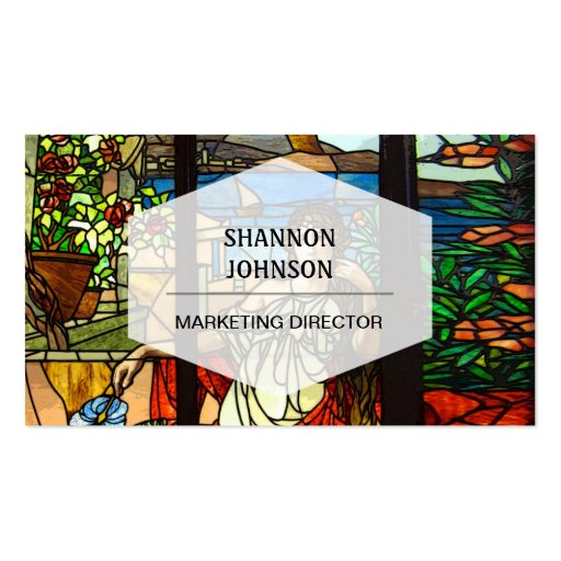 Stained glass look with lady sitting. business cards