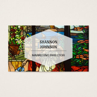 Stained glass look with lady sitting. business card
