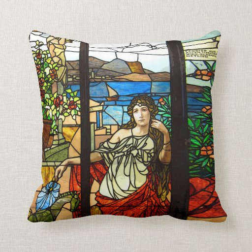 Stained glass look with lady sitting. throw pillows