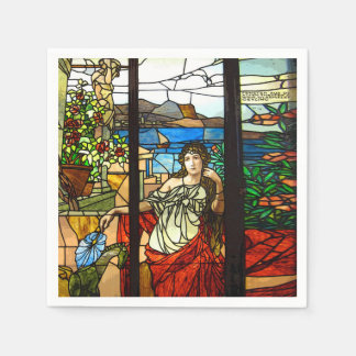 Stained glass look with lady sitting. disposable serviettes