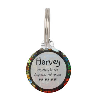Stained glass look with lady sitting pet name tag