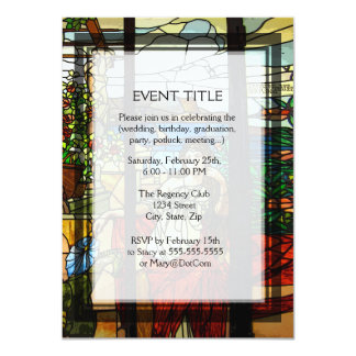 Stained glass look with lady sitting. 11 cm x 16 cm invitation card