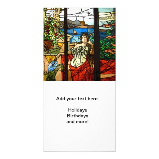 Stained glass look with lady sitting. customized photo card