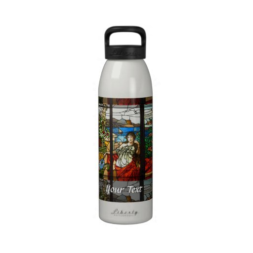 Stained glass look with lady sitting. water bottle