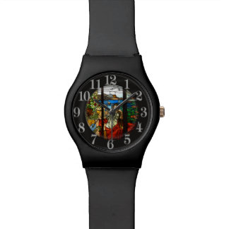 Stained glass look with lady wristwatches