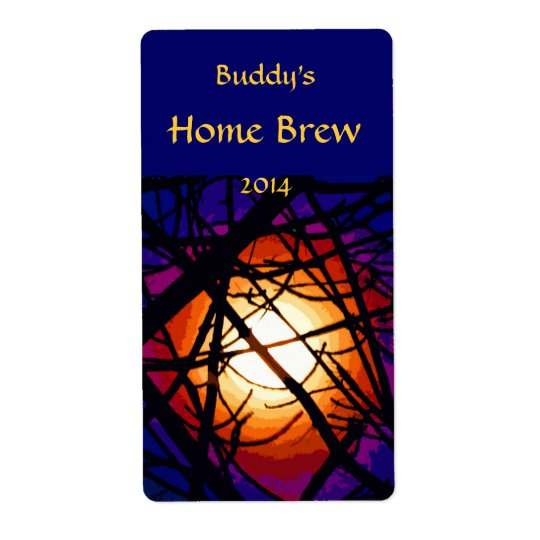 Stained Glass Moon Abstract Beer Label