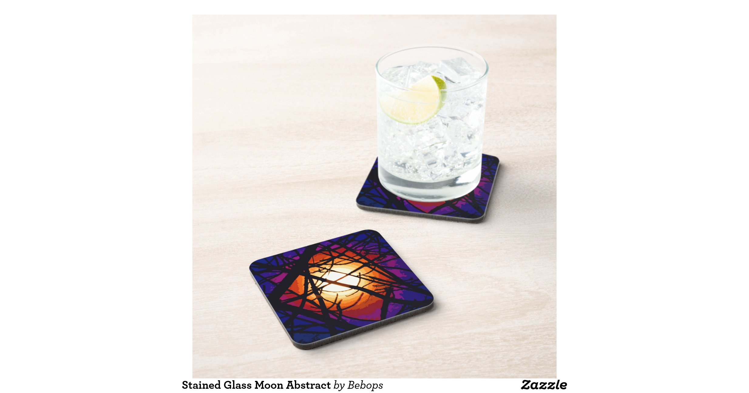 Beverage Coasters Stained Glass Moon Abstract Beverage Coaster Zazzle