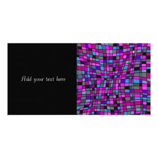 Stained Glass Mosaic Tiles in Purple Hues Photo Card Template