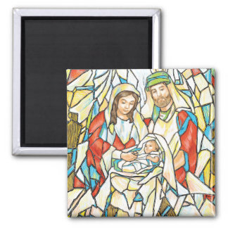 Stained Glass Nativity Painting Square Magnet