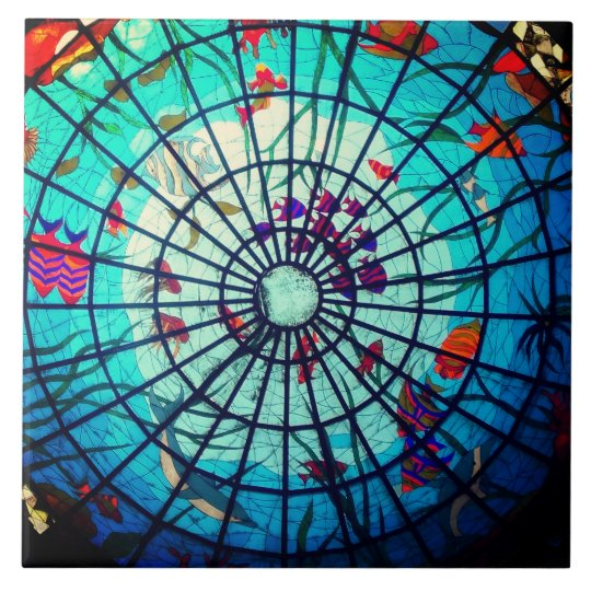 Stained glass ocean life ceramic tile