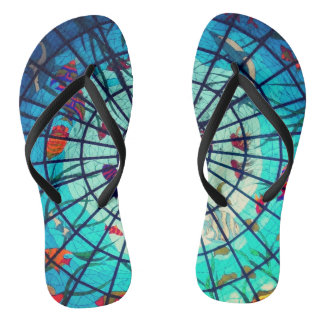Stained glass ocean life flipflops