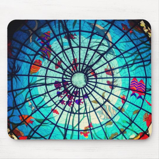 Stained glass ocean life mouse pad
