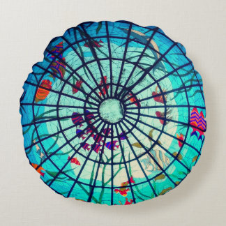 Stained glass ocean life poof pillow