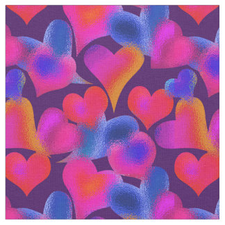 Stained Glass Painted Hearts | Valentine's Day Fabric