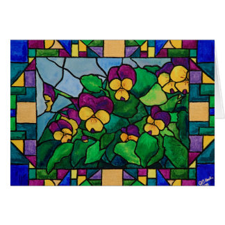 Stained Glass Pansies Card