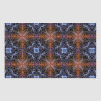 Stained Glass Pattern in Blue and Orange Rectangular Sticker