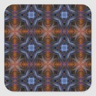 Stained Glass Pattern in Blue and Orange Square Sticker