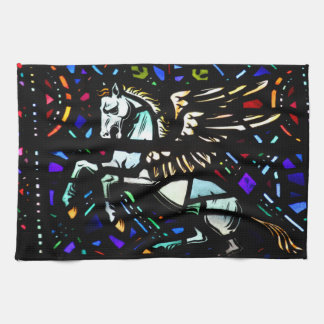 Stained Glass Pegasus Tea Towel
