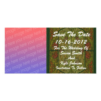 Stained Glass Photo Wedding Save The Date Custom Photo Card