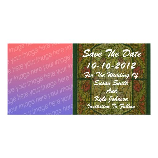 Stained Glass Photo Wedding Save The Date Photo Greeting Card