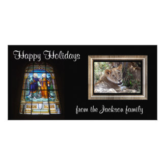 stained glass photocard personalised photo card
