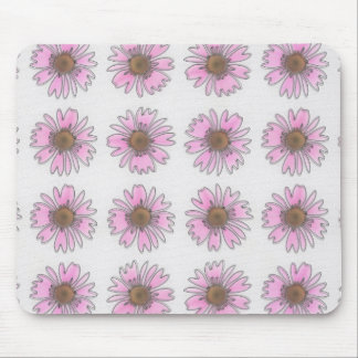 Stained Glass Pink Daisies Mouse Pad